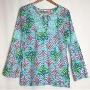 Lucy Ikat Print Long Sleeve Peasant Blouse Tunic M